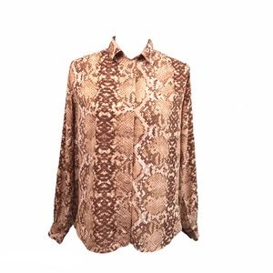 H&M Snakeskin Print Button Up Blouse